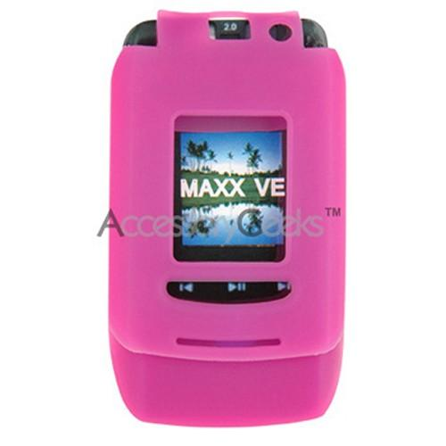 Motorola MAXX VE Silicone Case, Rubber Skin - Hot Pink