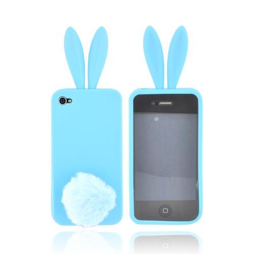 AT&T/Verizon Apple iPhone 4, iPhone 4S Silicone Case w/ Fur Tail Stand - Blue Bunny