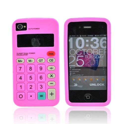 AT&T/ Verizon iPhone 4, iPhone 4S Silicone Case - Hot Pink Calculator