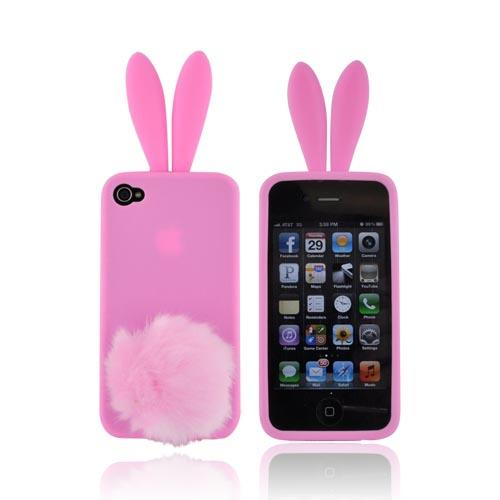 AT&T/Verizon Apple iPhone 4, iPhone 4S Silicone Case w/ Fur Tail Stand - Pink Bunny