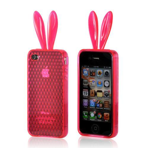 AT&T/Verizon Apple iPhone 4, iPhone 4S Silicone Case w/ Fur Tail Stand - Purple Bunny