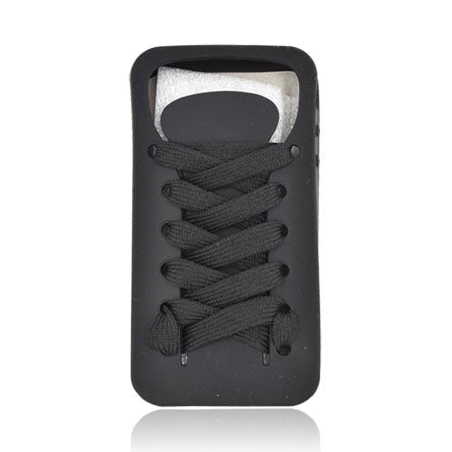 AT&T/ Verizon Apple iPhone 4, iPhone 4S Silicone Case w/ Shoelace - Black