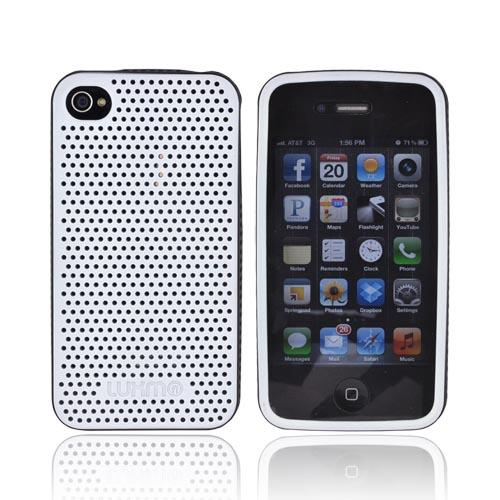 AT&T/ Verizon Apple iPhone 4, iPhone 4S Fusion Series Perforated Silicone Case - White/ Black