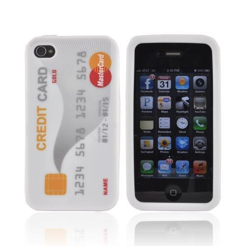 AT&T/ Verizon Apple iPhone 4, iPhone 4S Silicone Case - White Credit Card