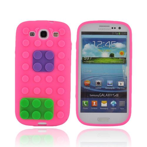 Samsung Galaxy S3 Silicone Case - Pink/ Purple/ Green Blocks