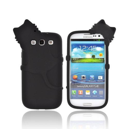 Samsung Galaxy S3 Silicone Case w/ 3D Animal - Black Peeking Cat