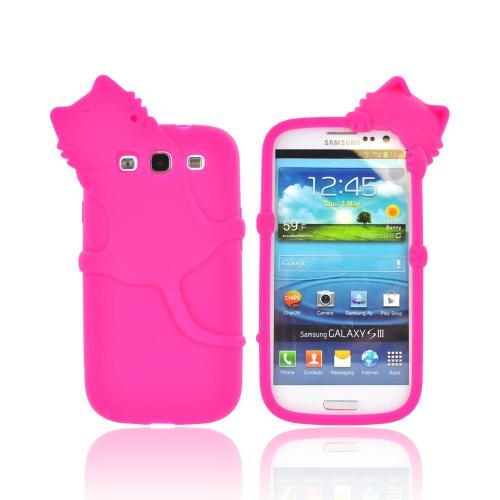 Samsung Galaxy S3 Silicone Case w/ 3D Animal - Hot Pink Peeking Cat