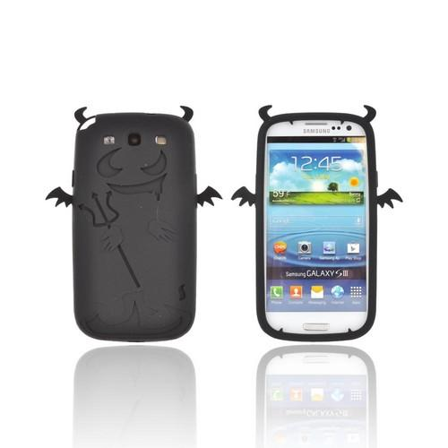 Samsung Galaxy S3 Silicone Case - Black Devil w/ Horns