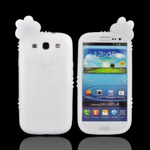 Samsung Galaxy S3 Silicone Case w/ 3D Animal - Frost White Peeking Frog