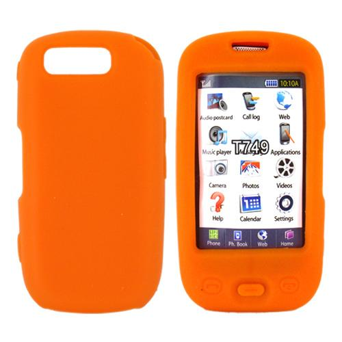 Samsung Highlight T749 Skin Case, Rubber Skin - Orange