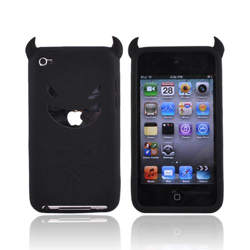 Apple iPod Touch 4 Silicone Case - Black Devil w/ Horns