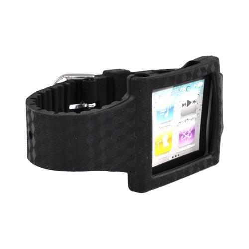 Premium Apple iPod Nano 6 Silicone Wrist Band Case - Black Design
