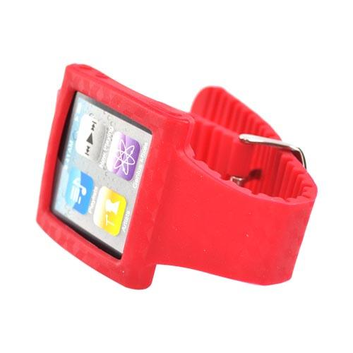 Premium Apple iPod Nano 6 Silicone Wrist Band Case - Red Design