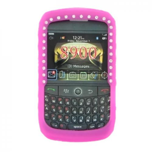 Blackberry Curve 8900 Silicone Case, Rubber Skin w/ Embedded Gems - Hot Pink