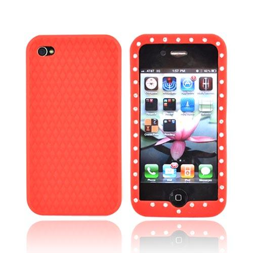 Apple Verizon/ AT&T iPhone 4, iPhone 4S Silicone Case w/ Embedded Gems - Red