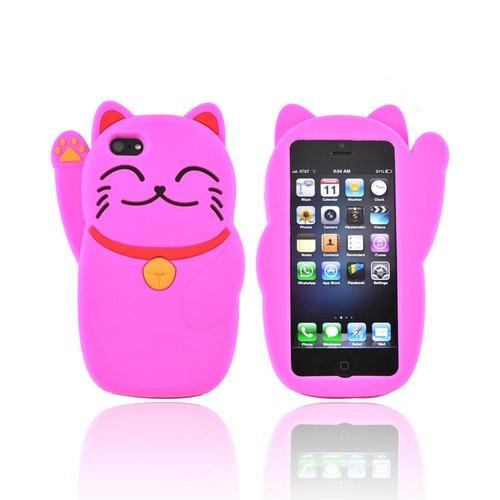 Premium Apple iPhone 5/5S Silicone Case - Hot Pink Lucky Cat