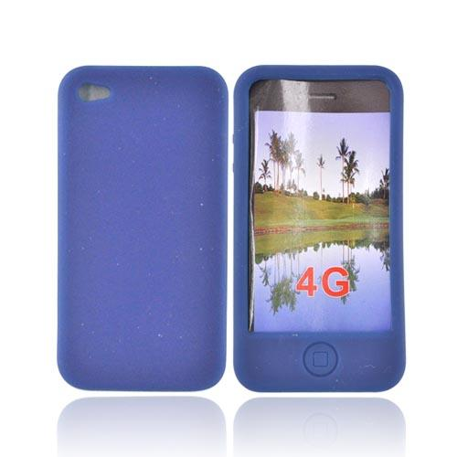 Premium Apple iPhone 4 Silicone Case, Rubber Skin - Dark Blue