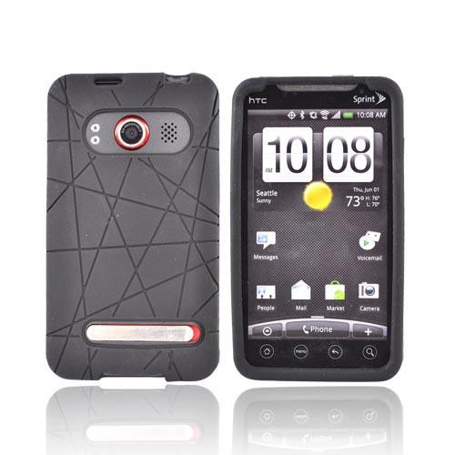 HTC EVO 4G Silicone Case w/ Screen Protector - Textured Lines Black