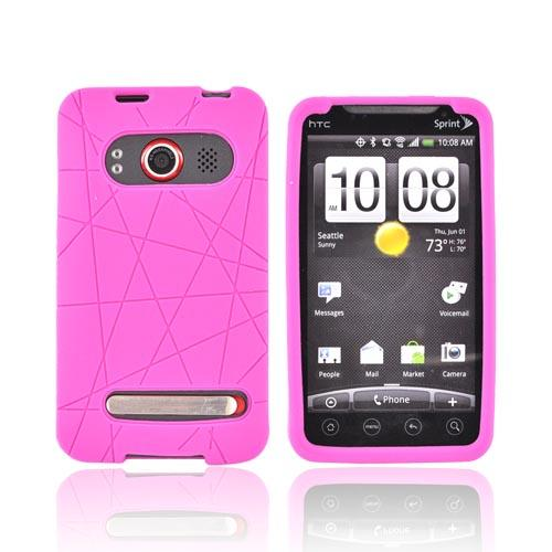 HTC EVO 4G Silicone Case w/ Screen Protector - Textured Lines Hot Pink