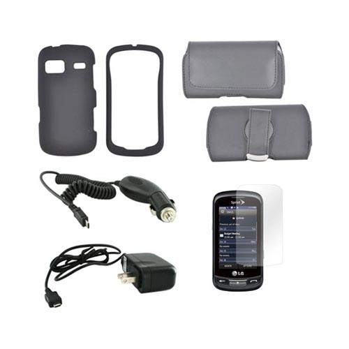 LG Rumor Reflex Essential Bundle Package w/ Black Rubberized Hard Case, Screen Protector, Leather Pouch, Car & Travel Charger