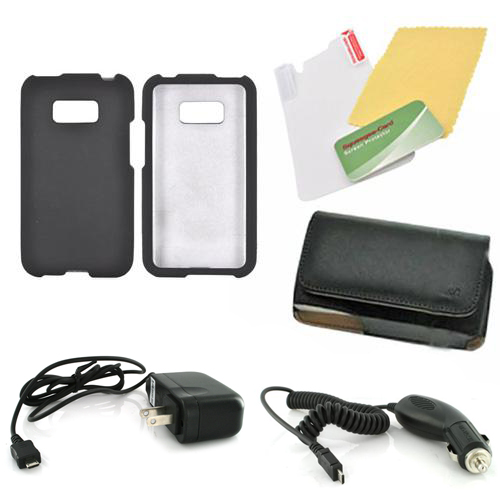 LG Optimus Elite Essential Bundle Package w/ Black Rubberized Hard Case, Screen Protector, Leather Pouch, Car & Travel Charger