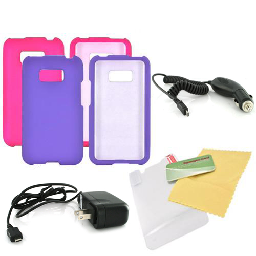 LG Optimus Elite Essential Girly Bundle Package w/ Hot Pink & Purple Rubberized Hard Case, Mirror Screen Protector, Car & Travel Charger