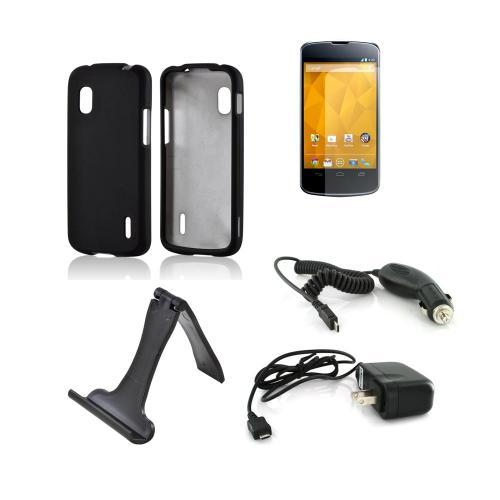 LG Nexus 4 Essential Bundle Package w/ Black Rubberized Hard Case, Screen Protector, Portable Stand, Car & Travel Charger