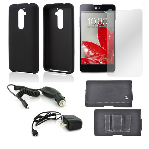 Essential Bundle Package w/ Black Rubberized Hard Case, Screen Protector, Leather Pouch, Car & Travel Charger for LG G2 (AT&T, T-Mobile, & Sprint)