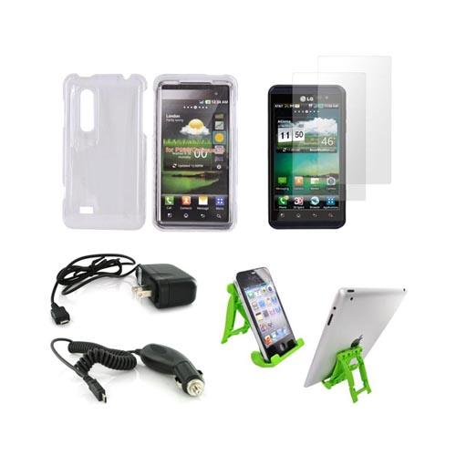 LG Thrill 4G Essential Bundle Package w/ Clear Hard Case, 2 Pack Screen Protector, Green Lime 3Feet Stand, Car & Travel Charger