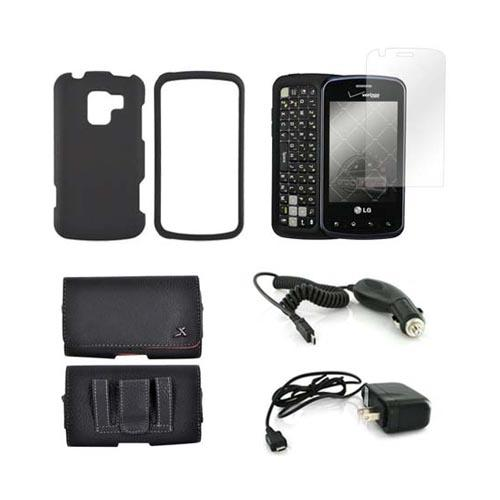 LG Enlighten VS700 Essential Bundle Package w/ Black Rubberized Hard Case, Screen Protector, Leather Pouch, Car & Travel Charger