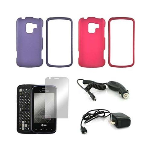 LG Enlighten VS700 Essential Bundle Package w/ Rose Pink & Purple Rubberized Hard Case, Mirror Screen Protector, Car & Travel Charger