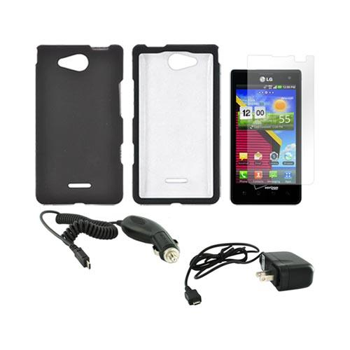 LG Lucid VS840 Essential Bundle Package w/ Black Rubberized Hard Case, Screen Protector, Car & Travel Charger