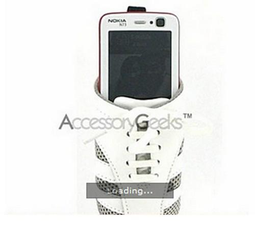 Universal Cell Phone Shoe Pouch (BS, BM, FS) - White w/ Silver Trim