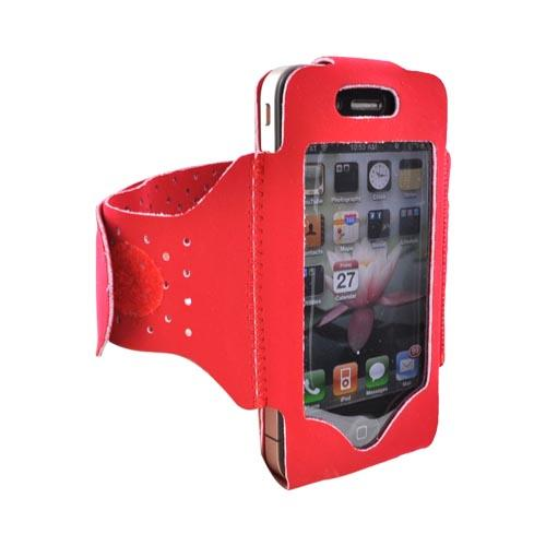 Luxmo Apple iPhone 4S, Verizon/AT&T iPhone 4 Velcro Closure Armband - Red