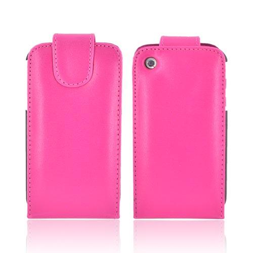 Apple iPhone 3GS 3G Vertical Flip Open Leather Case w/ Attached Silicone Case, Rubber Skin - Hot Pink