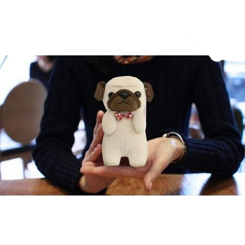 Brown/ Beige Pug w/ Red Bowtie OEM MyPetCase Plush Snap On Case for iPhone 5/5S