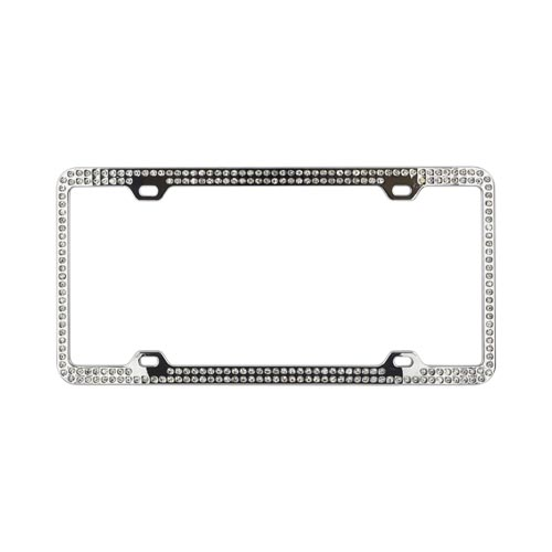 Universal License Plate Frame - White Gems on Chrome