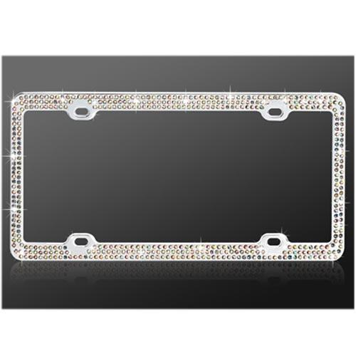Universal License Plate Frame - Multi-Color Gems on Chrome