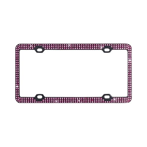 Universal License Plate Frame - Pink Gems on Black