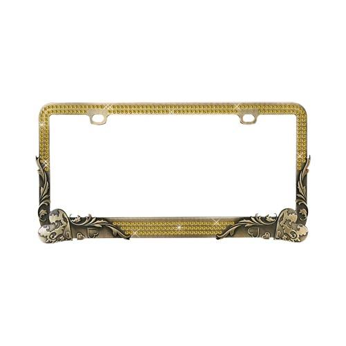 Universal License Plate Frame - Vintage Bronze Hearts w/ Gold Crystals