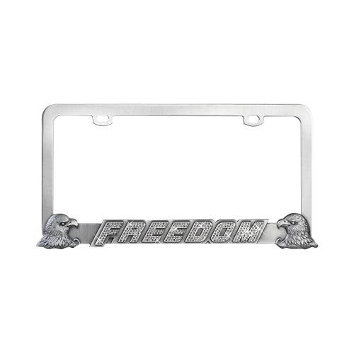 Universal License Plate Frame - Gun Metal Bald Eagles & Freedom w, Smoke Crystals