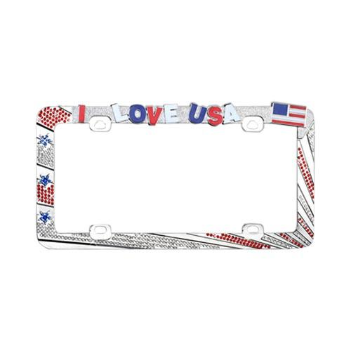 Universal License Plate Frame - I Love USA w/ Red, White, & Blue Gems