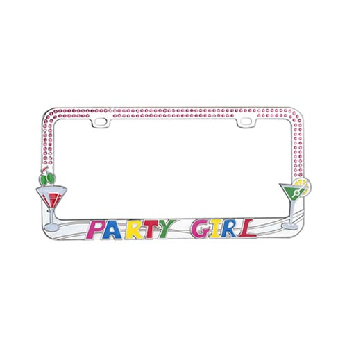 Universal License Plate Frame - Party Girl w/ Martini Glasses & Pink Gems