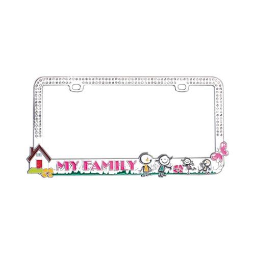 Universal License Plate Frame - My Family w/ Silver Gems