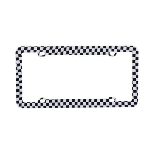 Universal License Plate Frame - Black,White Racing Flag