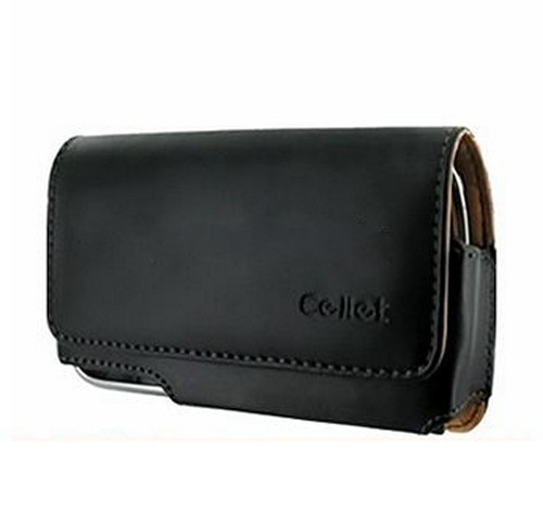Universal Cellet Horizontal Leather Pouch w/ Belt Clip - Black (PUT)