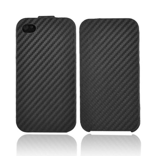 Luxmo Apple iPhone 4S, AT&T/Verizon iPhone 4 Horizontal Case w/ Flap - Carbon Fiber Black