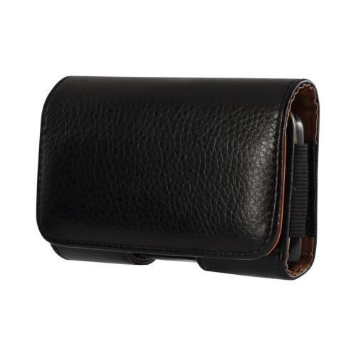 Black Universal Horizontal Leather Pouch w/ Magnetic Closure & Belt Clip for HTC EVO 4G Sized Phones (PUTXL)