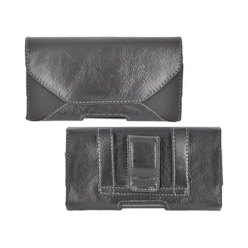 Universal Leather/ Nylon Horizontal Pouch w/ Magnetic Closure & Belt Clip - Black (PUT2XL)