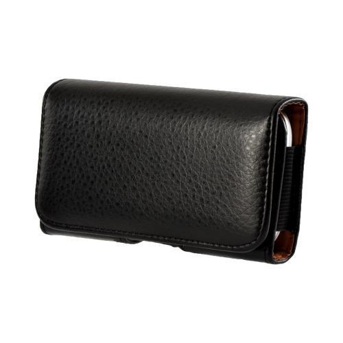 Black Universal Horizontal Leather Pouch w/ Magnetic Closure & Belt Clip for Galaxy S3 Sized Phones (PUT2XL)
